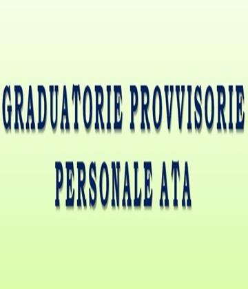 Pubblicazione Graduatorie Provvisorie Regionali Personale A.T.A nuovi inserimenti – Triennio 2020/2023